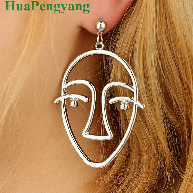 European And American Personality Exaggerated Abstract Face Contour Earrings Alloy Plating Gold And Silver Hollow Face Ear Earri