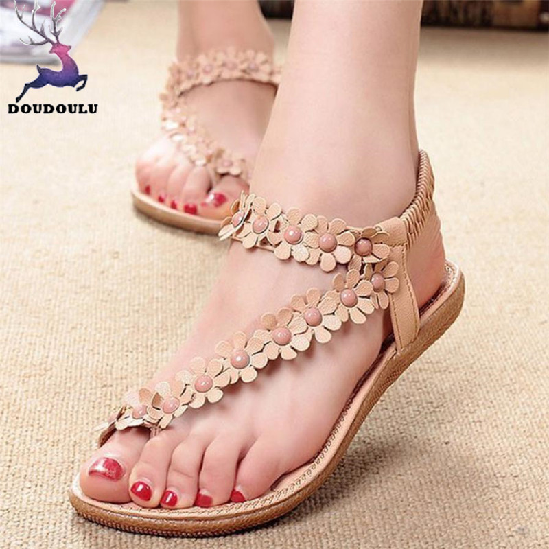 Toe Sandals Beach-Shoes Sweet Bohemia Plus-Size Summer Woman New Mujer 35--41 Beaded