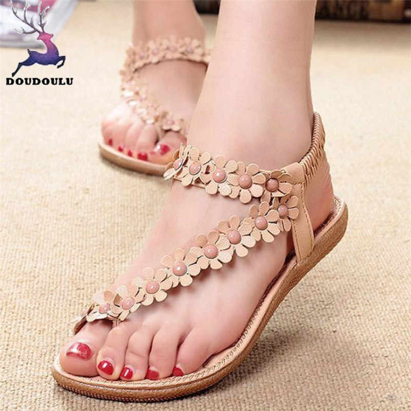 New Women Sandals Summer Bohemia Sweet Beaded Sandals Clip Toe Sandals Beach Shoes Woman zapatos mujer Plus Size 35~41