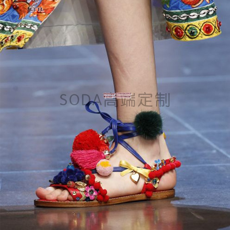 Newest fashion shoes red pom poms lace up flat sandals tassel mixed color vintage shoes fur spring summer women flat shoes bohemian style summer celebrity lace up flat shoes pom poms cute sandals skyblue pink colorful clip toe comfortable dress sandal