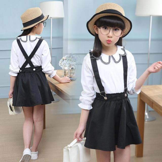 2 Pcs Summer Girls Clothing Set Long Sleeve Shirts Blouse Tops Suspender Straps Jeans Skirt ensemble fille For 6 8 10 12 14 Yrs