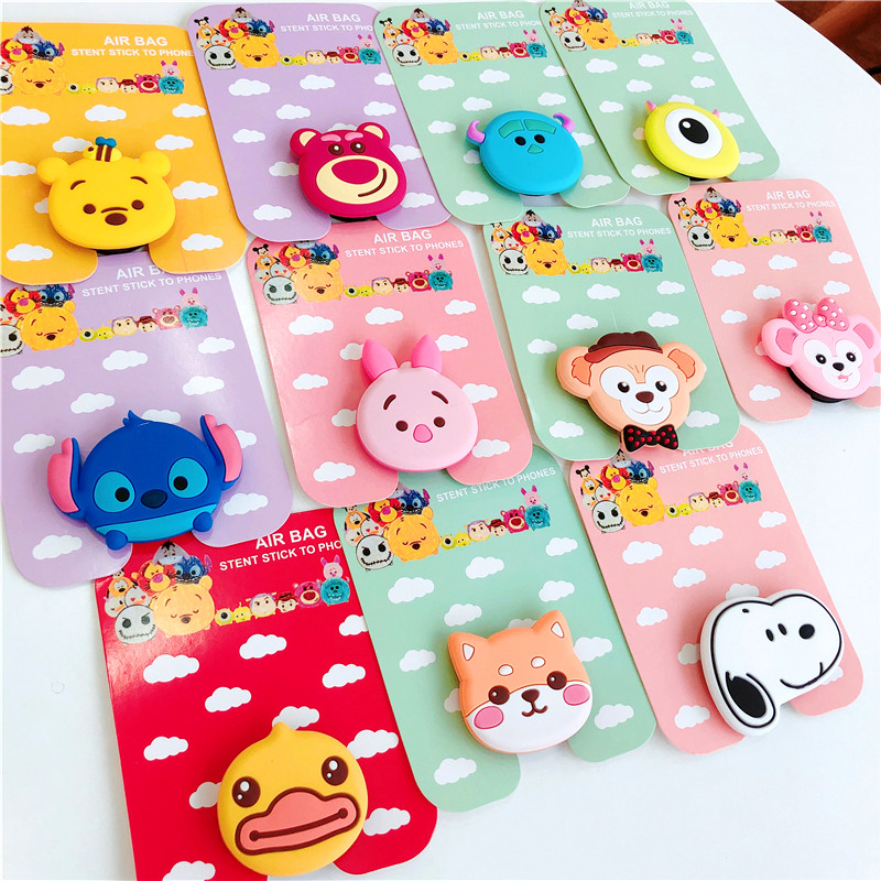 Phone Grip Universal Mobile Phone Stretch Bracket Cartoon Air Bag Phone Expanding Phone Stand Finger Car Holder Soporte Movil