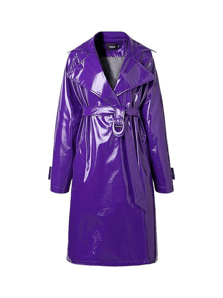 Mid-length Windbreaker Female Purple Leather Jacket New 2018 Autumn Retro Harbor Wind Jacket Shiny Soft Patent Leather Long Coat