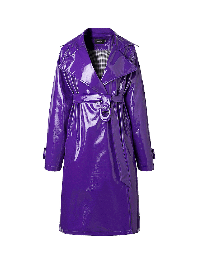 Mid-length Windbreaker Female Purple   Leather   Jacket New 2018 Autumn Retro Harbor Wind Jacket Shiny Soft Patent   Leather   Long Coat