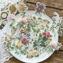 60 unids/bolsa Estilo Vintage pegatinas plantas flores impresión Washi papel pegatinas viaje diario decoraciones etiquetas estudiante Scrapbooking