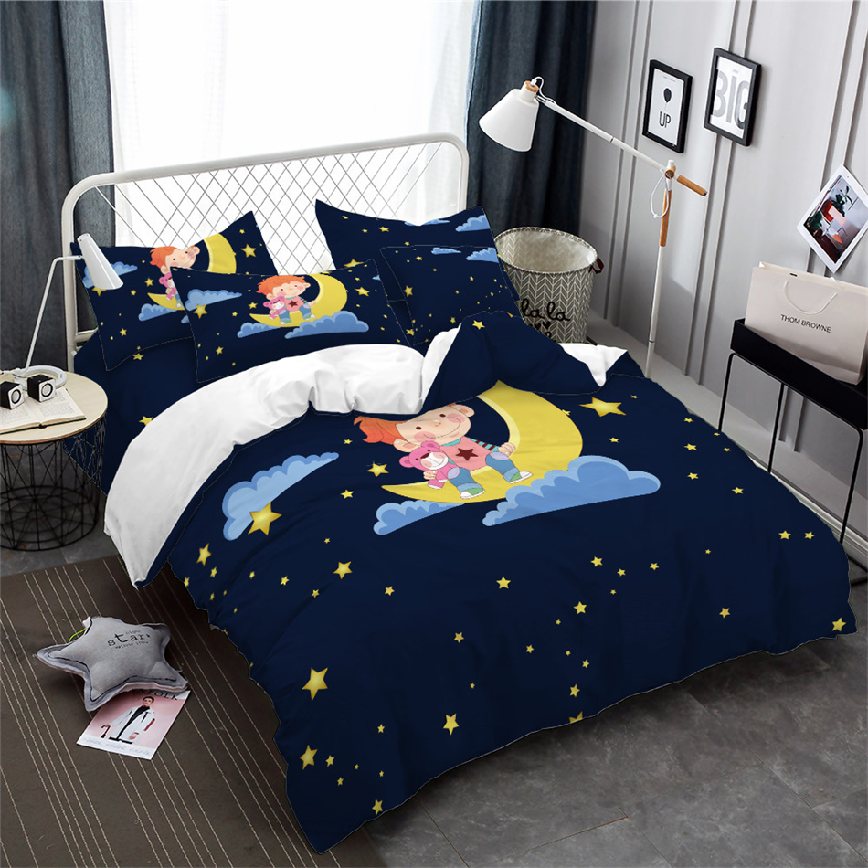 Kids Cartoon Bedding Set Dark Blue Starry Sky Duvet Cover Set Boy With Toy Bear sit on Moon Bed Cover Pillowcase Home Decor in Bedding Sets from Home Garden