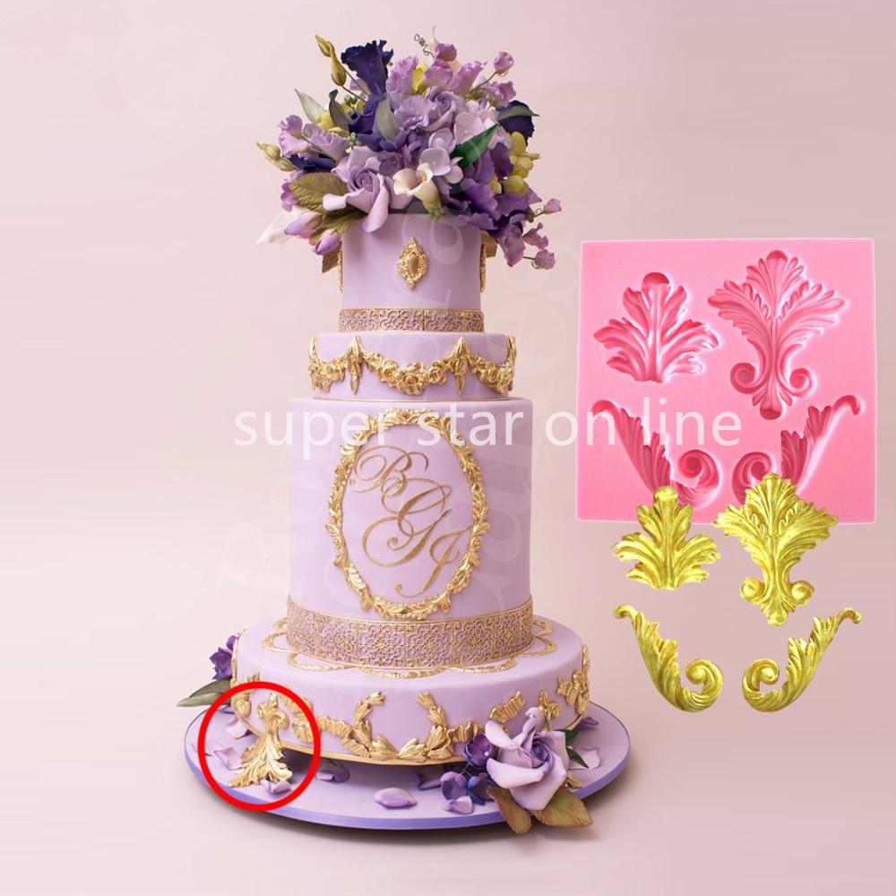 Flourish Leaf Scroll Silicone Mold Feather Fondant Wedding Cake ...