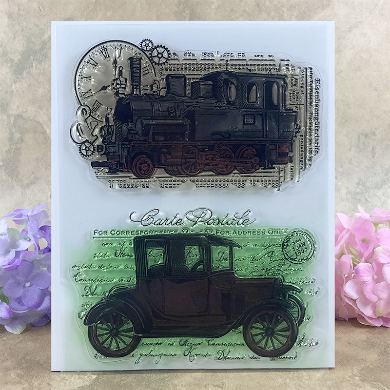 Jalopy Vintage Car Fashioned Locomotive Scrapbook DIY photo cards account rubber stamp clear stamp transparent stamp  14*18 CM scrapbook diy photo cards account rubber stamp clear stamp finished transparent chapter wall decoration 15 18