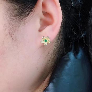 New Style, Special Price, Beautiful. Natural Emerald Ear Nails, 9255 Sterling Silver, Gold Plated. Hot