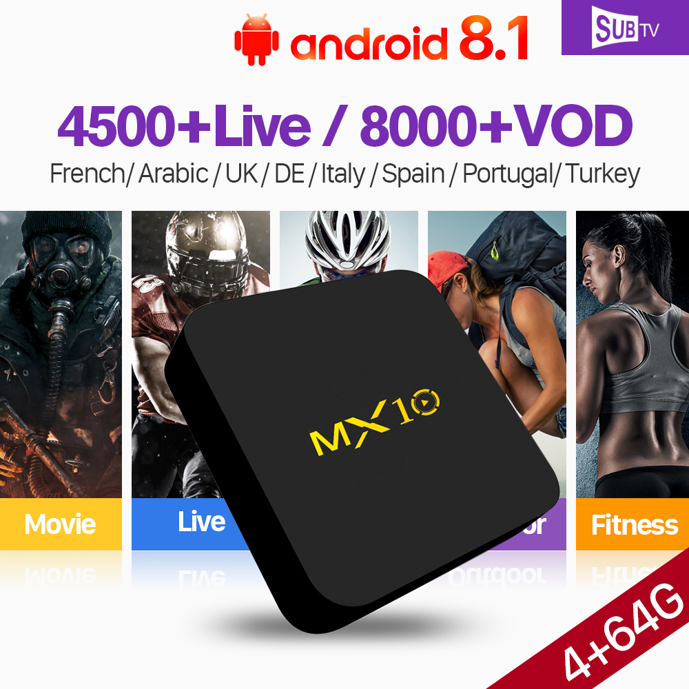 Turchia Francia IPTV Arabo SUBTV MX10 4 + 64g Francese IPTV 4 k H.265 Portogallo IPTV Italia 1 Anno IP TV Abbonamento SUBTV Ricevitore