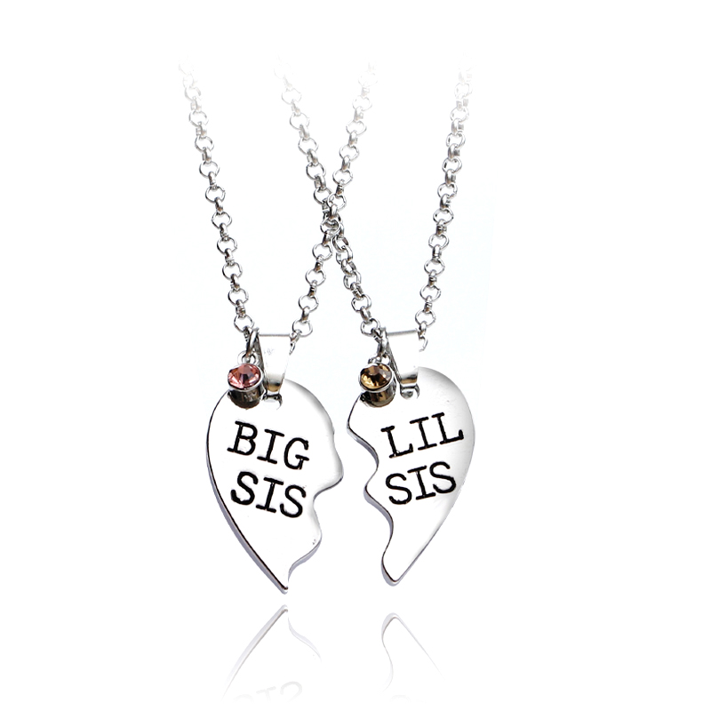 2pcs/set Heart Big SIS LIL SIS Necklace For 2 Handstamped BFF Couple Chains Pendant Family Necklace Engraved Girl Sister