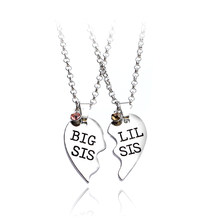 2pcs/set Heart Big SIS LIL SIS Necklace For 2 Handstamped BFF Couple Chains Pendant Family Necklace Engraved Girl Sister(China)