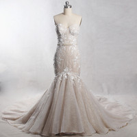 RSW1385 Yiaibridal Long Train Sweetheart Neckline Colored Gold And Ivory Wedding Dress Mermaid