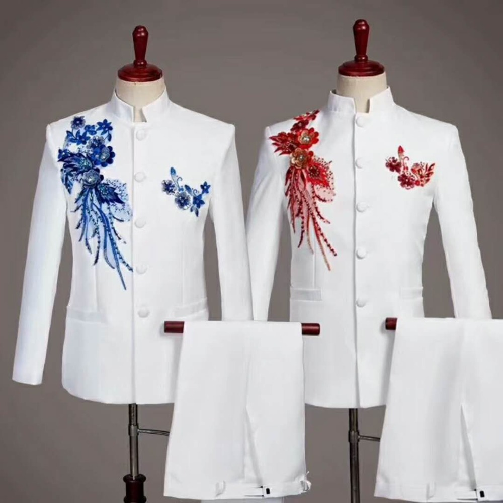 Мужской модный вышитый китайский костюм из двух предметов (куртка + брюки) мужские деловые костюмы поддержка на заказ свадебное платье жени