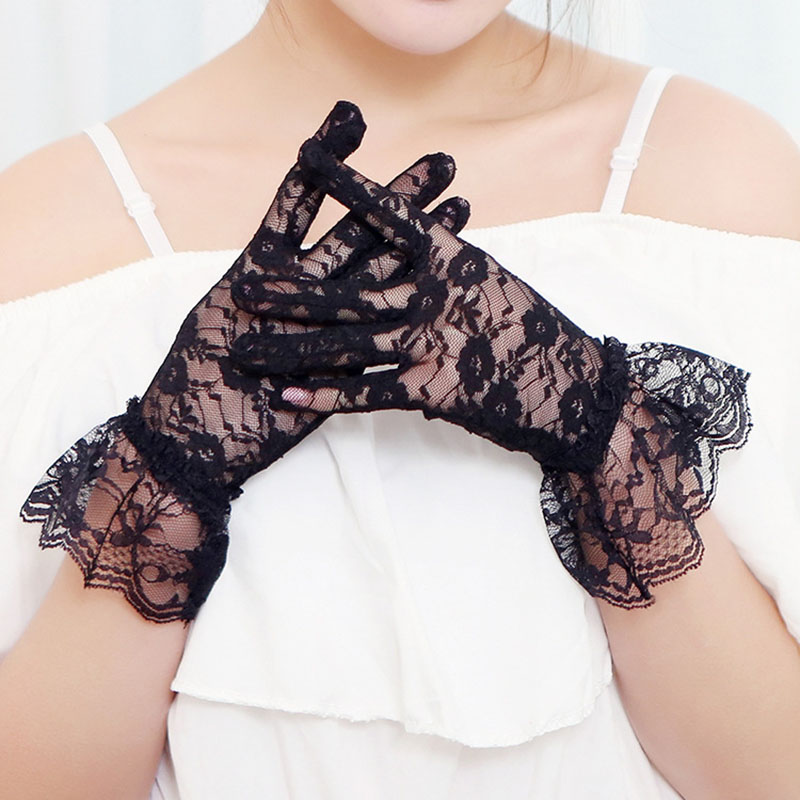Female Sexy Lace Summer Sunscreen Gloves Ladies Ceremony Women's Gloves Breathable Short Lace Full Finger Gloves B65