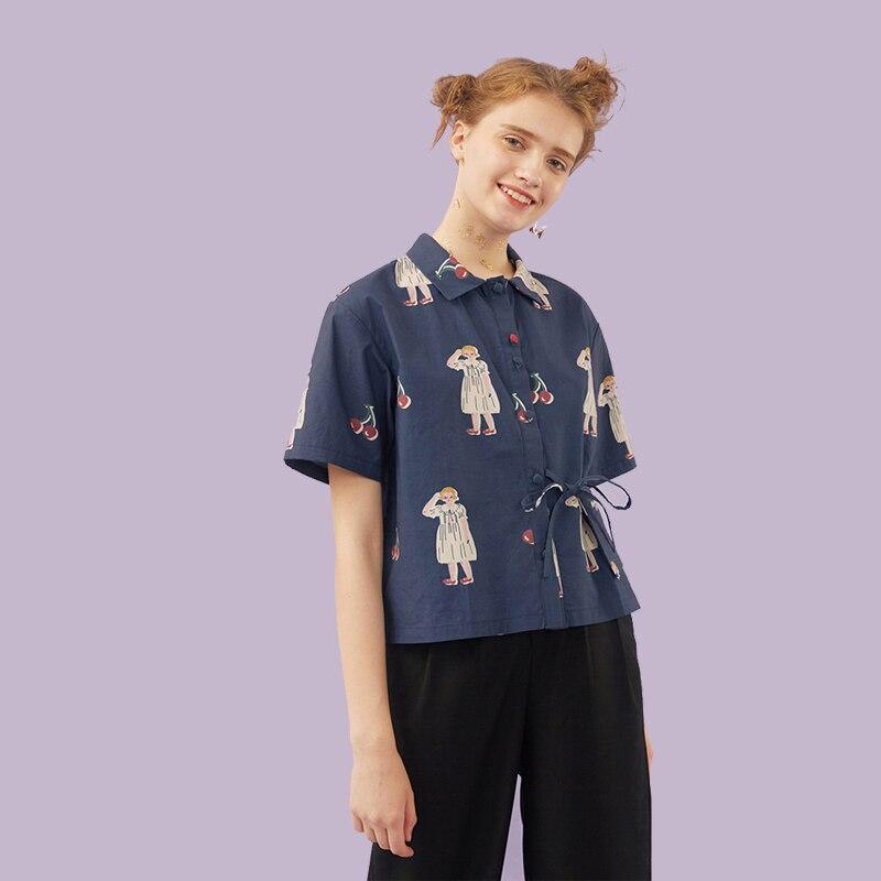 Summer New Original Fashion Women Chiffon Blouse Girls Printed Ladies Shirt Tops Lace Up Pocket Short