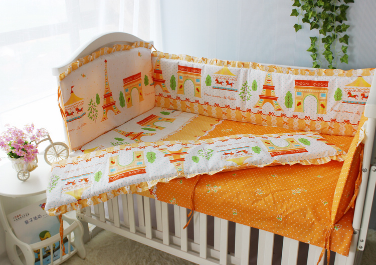 Orange Girls Boys Baby Bedding Set ,Bumpers in the crib for a newborn,kit for cot,linen for children in bed,4-10 Pcs Cotton Chi брюки