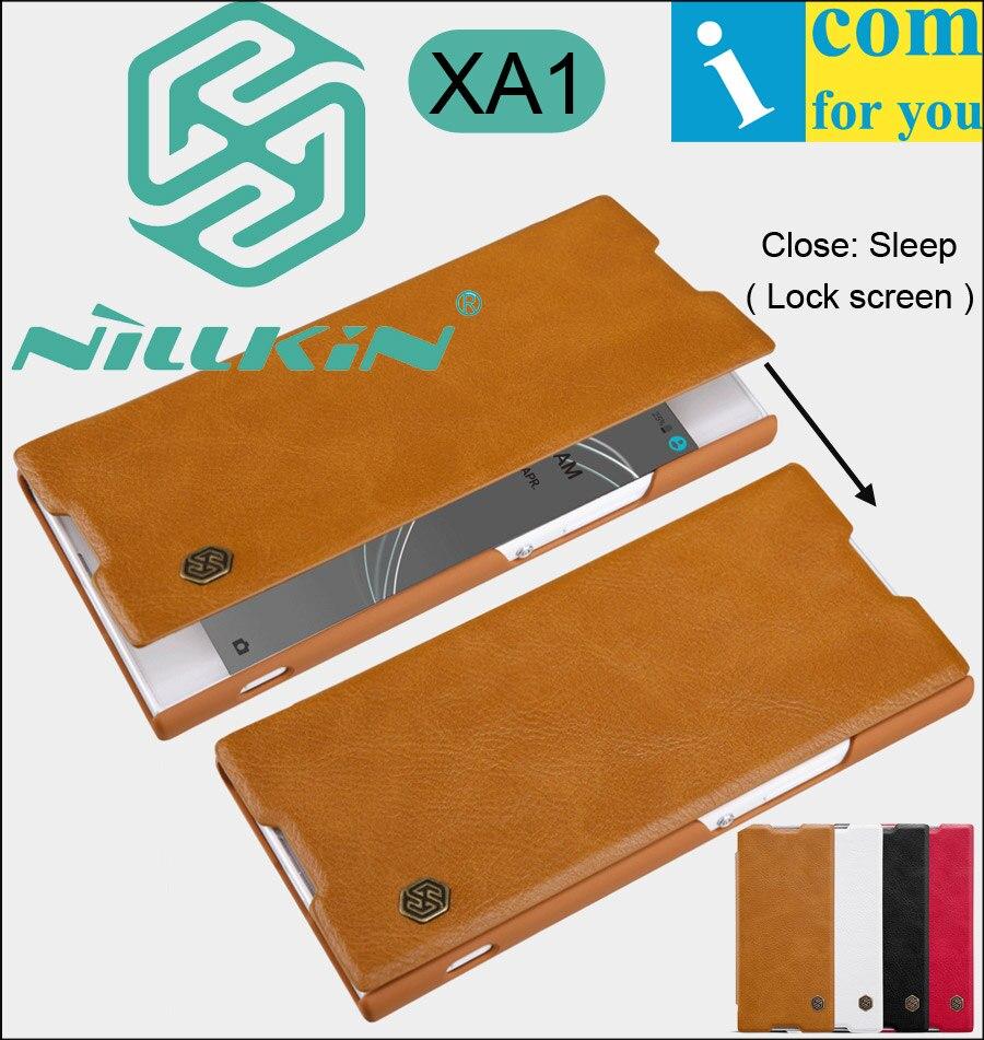 Nillkin qin livre flip case en cuir de couverture pour sony xperia xa1 ultra véritable réel coque capinha smart verrouillage sommeil écran