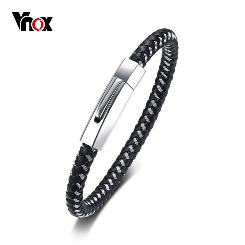 Vnox 6mm Genuine Leather Bracelet for Men Bangle Top Quality Stainless Steel Closure Classic Black Male Jewelry