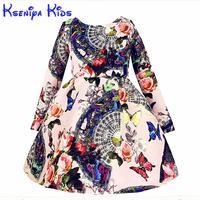 Sale Brand Vintage Baby Girl Dress Winter Long Sleeves Thicken Girls Warm Cotton Dresses Flower High Grade Age 10 Zk040916