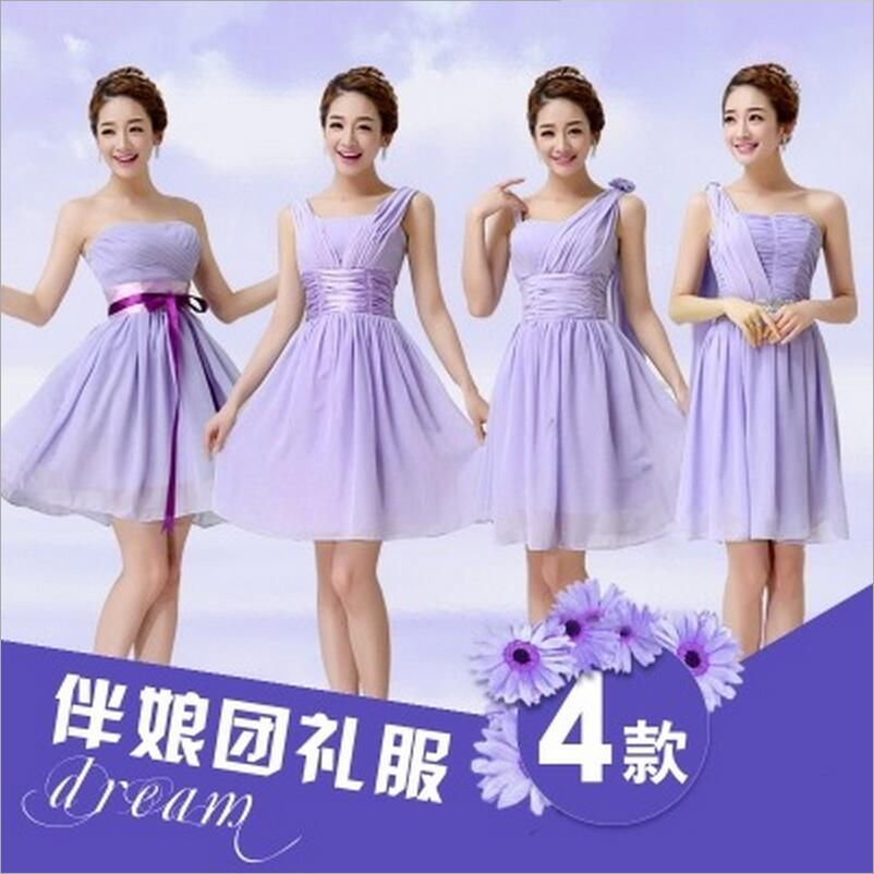 Elegant Light purple Strapless Short   Bridesmaid     Dresses   2016 Sexy Sleeve Off Shoulder Wedding Party   Dress   Vestido De Festa BV121