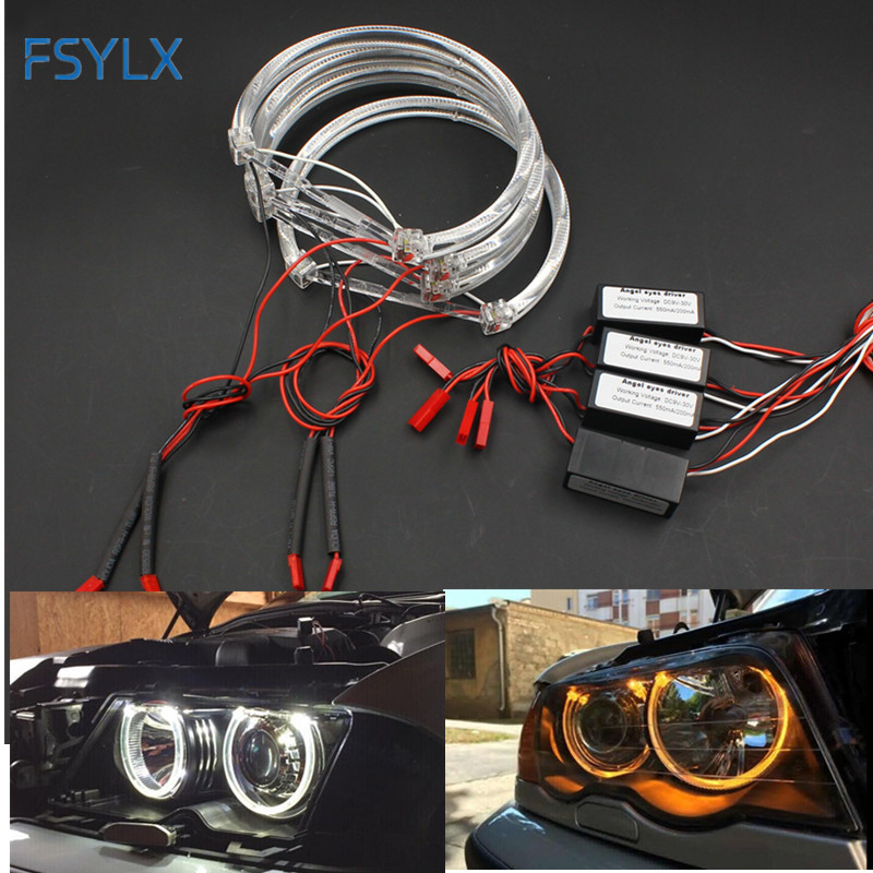 FSYLX LED Angel Eyes for BMW E46 halo light Error Free SMD angel eye E36 E38 E39 E46 Projector White yellow red blue Angel Eyes free shipping kia k5 exclusive use led angel eyes square round shape full set custom made drl two colors white yellow 18w 12v