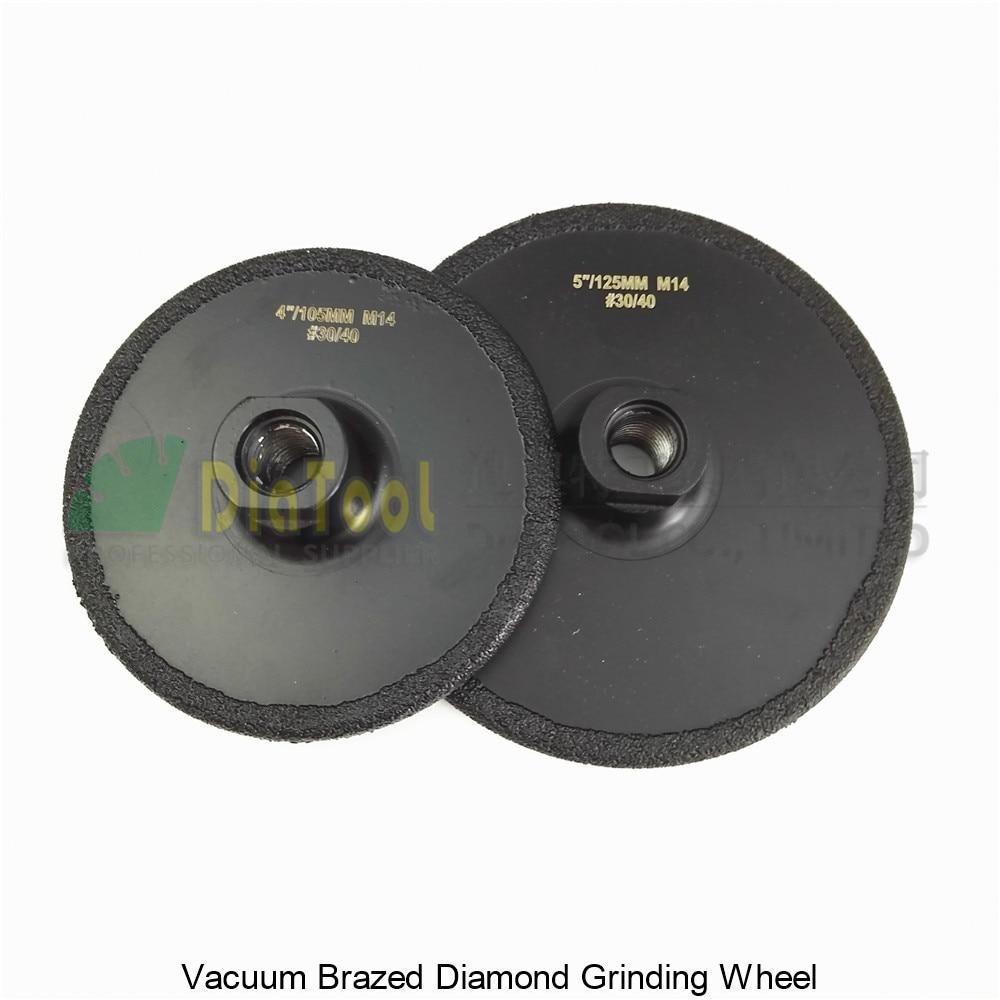 DIATOOL 2pcs (105MM+125MM) Vacuum Brazed Diamond Flat Grinding Wheel M14 Grit #30 Coated Diamond Grinder Disc 6 inch lapidary concave arc diamond coated grinding wheel grind spherical 6 mm ilovetool