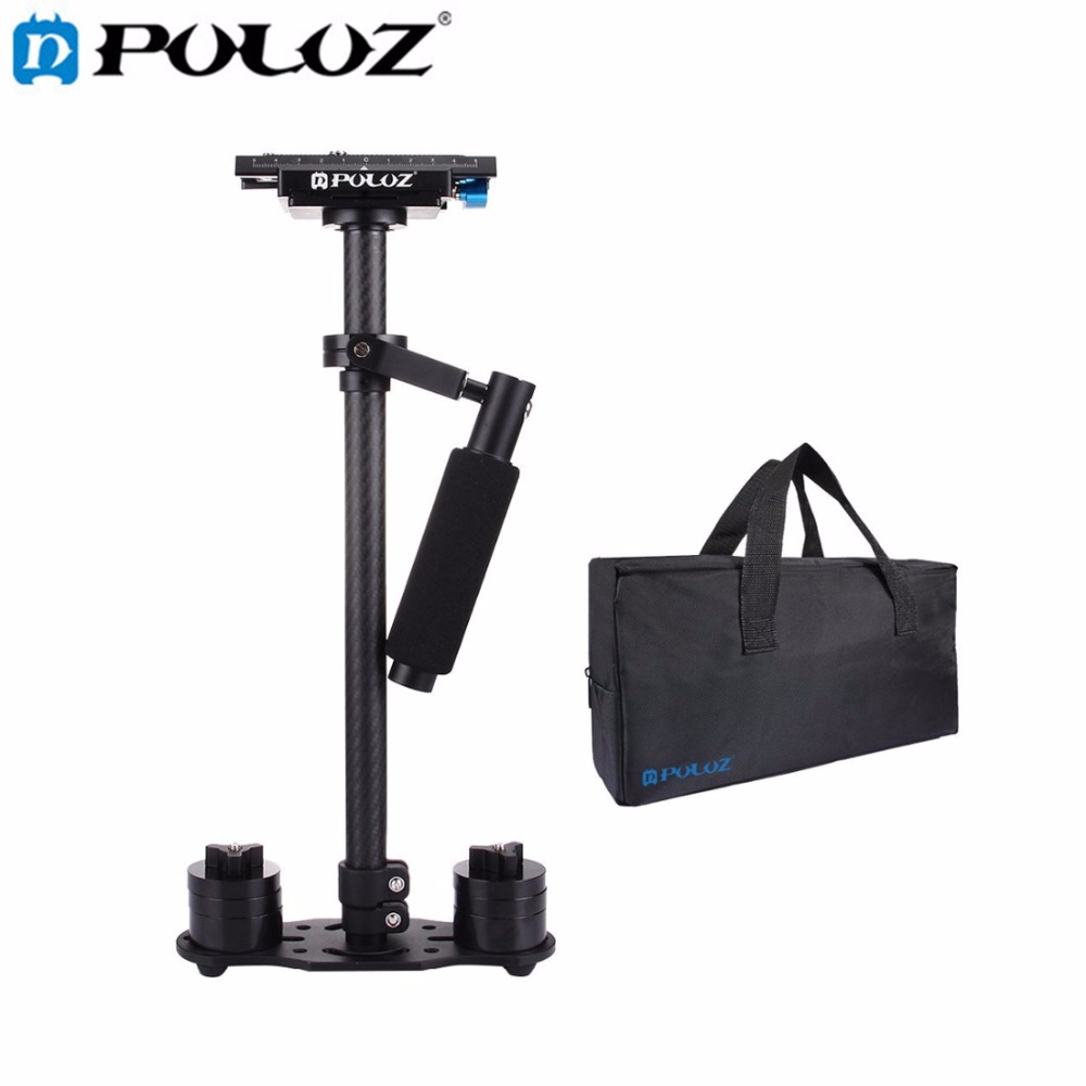 PULUZ S60T Professional Portable Carbon Fiber Tube Mini Handheld Camera Stabilizer DSLR Camcorder Video Stabilizing Steadicam handheld camcorder stabilizer s60t carbon fiber steady stabilizer for canon professional camera stable device
