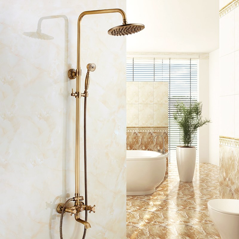 Antique Brass Bath And Shower Set With Handheld Shower Wall Mounted 8