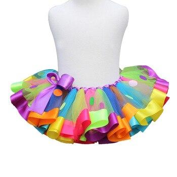 7a752c5f1 Multicolor niñas 3 capas pastel tutú vestidos bebé ganchillo tul Tutus con  correas y cinta azul ...