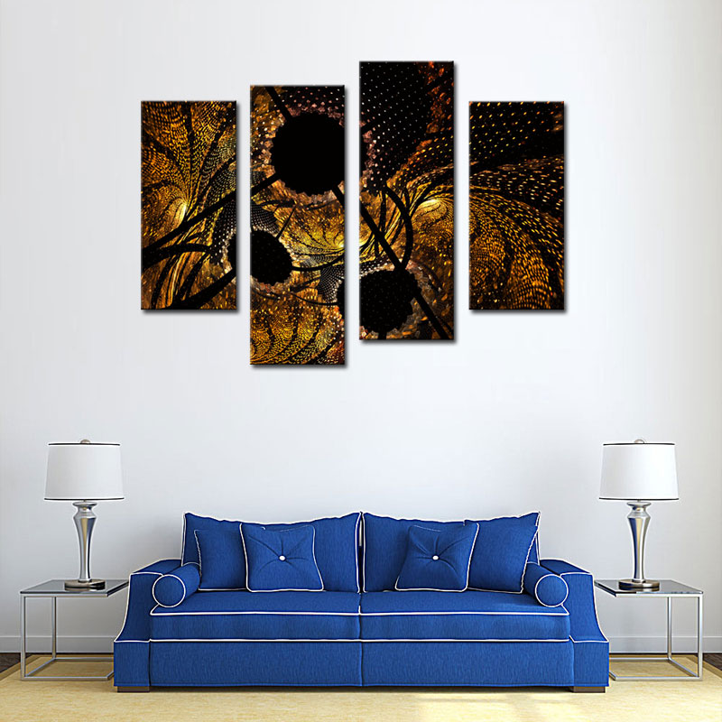 Amosi Art-4 Pieces Abstract Circles Black Yellow Wall Art Painting Print On Canvas For Home Modern Decoration Wooden Framed