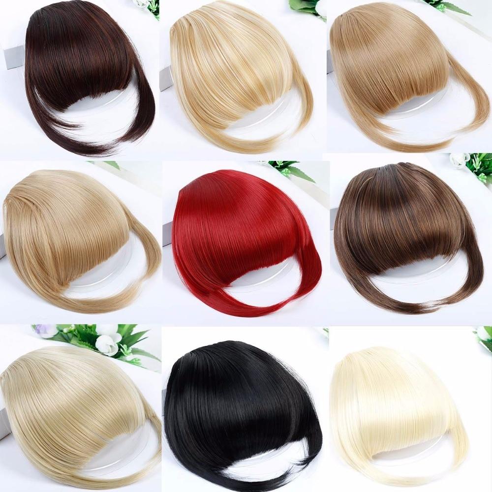 Bangs Haarteile Sego Gerade 3 Clip-in Menschlichen Stumpfen Pony Kehr Seite Pony Vordere Haar Fransen 100% Menschliches Haar 1 Stück Nur Schwarz Braun Blond