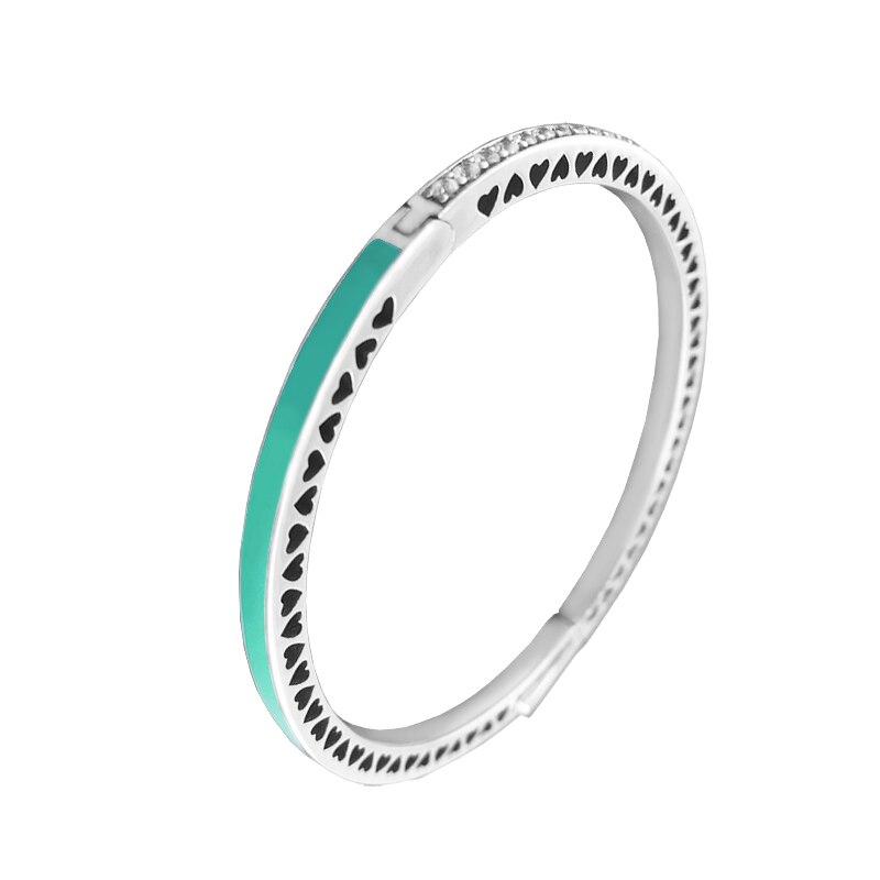 Real 925 Sterling Silver Radiant Hearts Enamel Bracelets for Women Clear CZ Bracelets Silver Jewelry pulseras