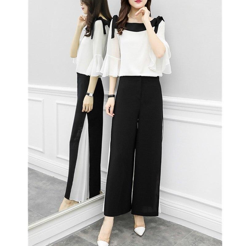 2019 Fashion Elegant 2 Pieces Suits Chiffon Flare Blouse Wide Leg Pants Sets Black White Two Pieces Sets 6