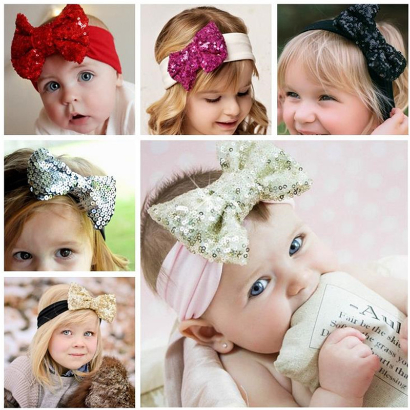 Best Deal 2016 Fashion Elastic Children Baby Girls Headband Cute Sequins Bow Baby Girl Hair Accessories For Baby Gift 1pc