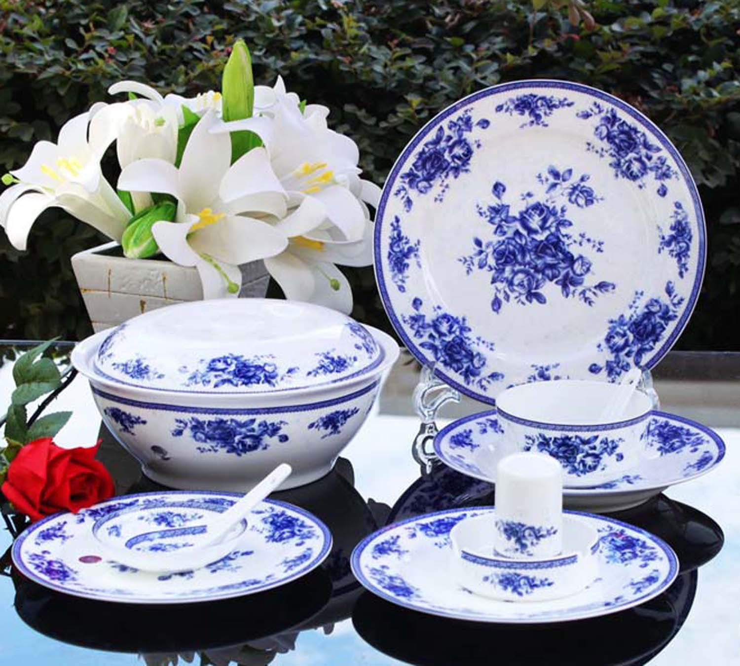 tableware jingdezhen bone china dinnerware set bone china 56 glaze dinnerware set blue and white. Black Bedroom Furniture Sets. Home Design Ideas