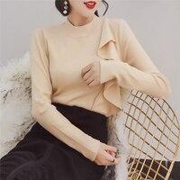 MENKAY Winter New Ruffles Asymmetrical Blouse Long Sleeved Slim Was Thin Korean Shirt Women