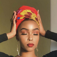 Shenbolen African Headwrap Floral Women Traditional Headtie Scarf Turban 100% Cotton Wax 72x22