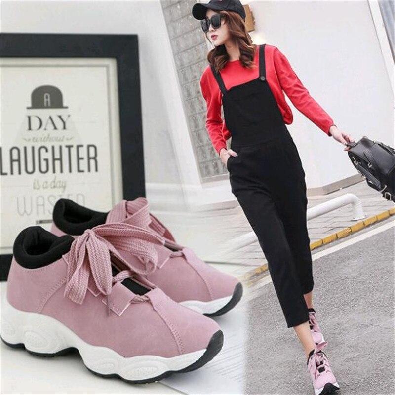 Casuales Otoño Zapatos Deportivos Nuevo Marea De Versión La Coreana Grueso 2019 blanco gris Negro Encaje Junta Salvaje rosado Mujer Blanco dx86wXq