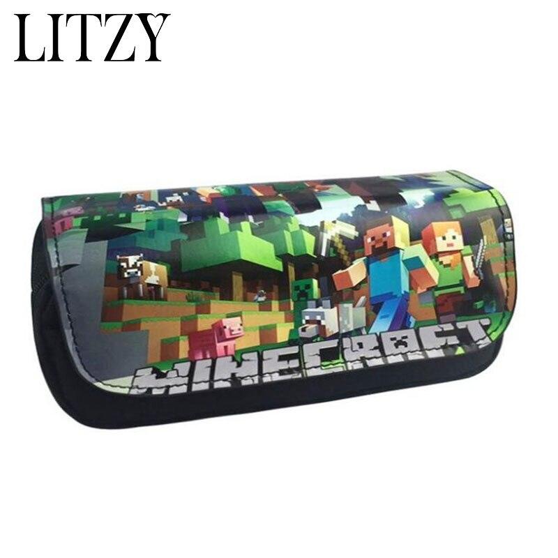 Minecraft lápiz caso multifunción escuela lápiz bolsas de gran capacidad de la pluma bolsa lindo escuela fuentes Bts papelería regalo