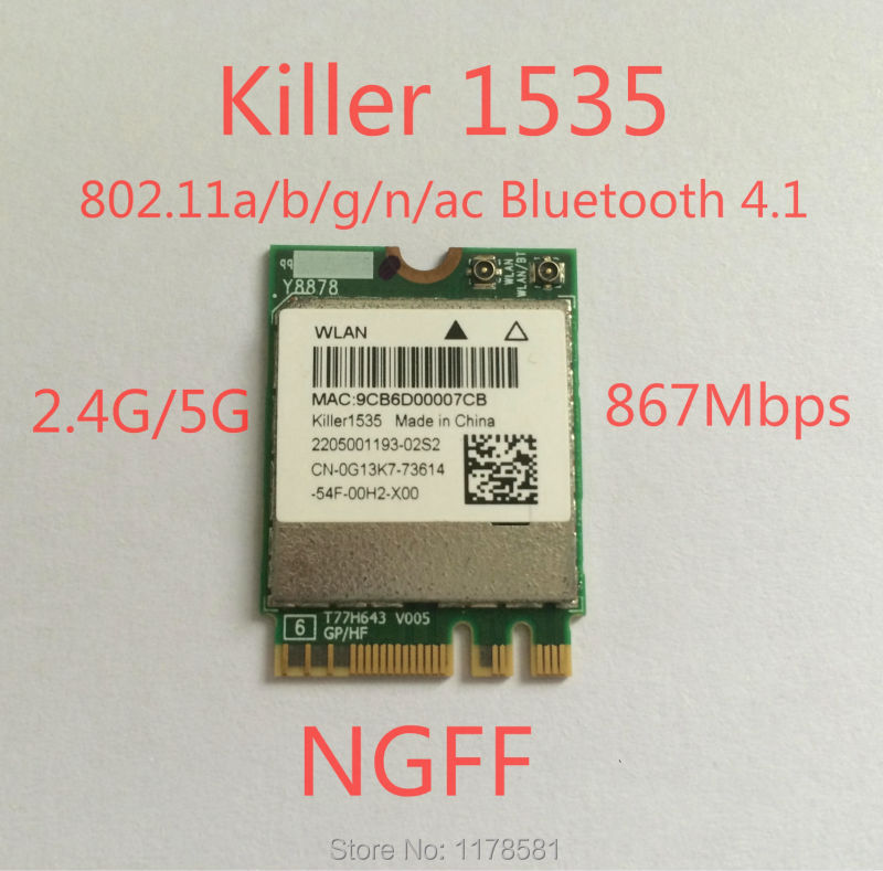 WLAN 2-in-1 Killer 1535 Wireless AC 1525 802.11 a/b/g/n/ac + Bluetooth 4.1 ; M.2 2230 WIFI CARD network card 802.11ac 867mbps
