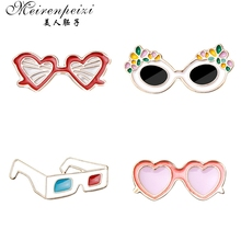 Meirenpeizi 3D Glasses pin Retro glasses red and blue hard enamel this pair of is for the cool kids badge