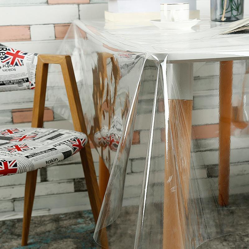 Manteles de PVC IHAD cubierta impermeable transparente Anti-oilproof vidrio redondo mantel hogar cocina decoración mantel 0,23mm