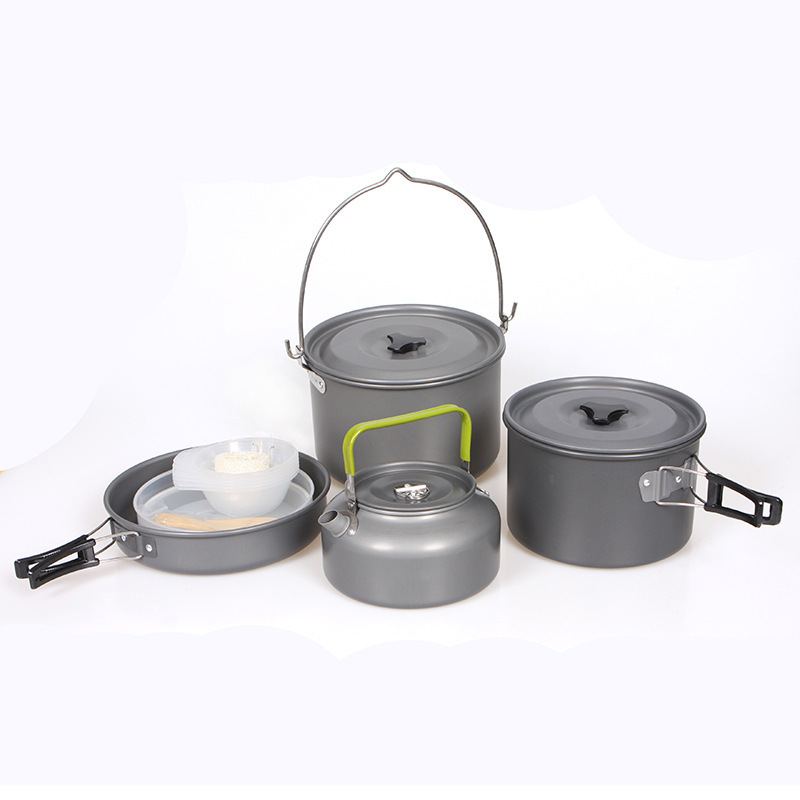 5-7 Person Portable Outdoor Camping Cookware Set Picnic Bowl Kettle Non-stick Pots Pans Bowls Hiking Set  New arrival kingcamp hard anodized aluminum 6 pcs camping cookware includes pots