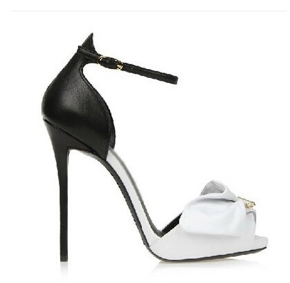 ФОТО Leopard High Heels Newest Fashion Contrast Color Patchwork Women Dress Shoes Thin Heel Sexy Peep Toe Sandals Female Free Ship