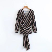 2017 Early Autumn Europe United States Fan Fashion V Collar With Striped Loose Shirt Women S