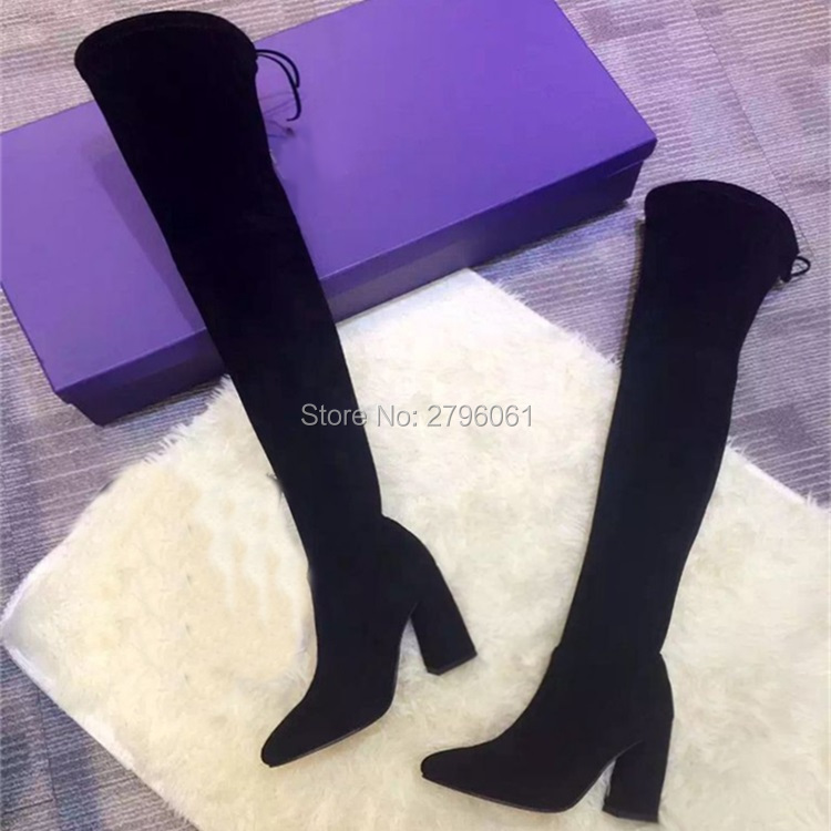 Designer Stretch Botas Mujer Chunky Heel Lace Up Thigh High Boots Women Winter Shoes Flock Sexy Ladies Over The Knee Boots Sale individual red cup heel over the knee boots chunky heel stretch long booties winter thigh high boots