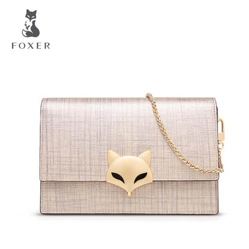 FOXER 2018 New women Leather bag fashion Chain Cowhide Stereotypes small square bag women leather Shoulder Crossbody Bags 2017 120cm diy metal purse chain strap handle bag accessories shoulder crossbody bag handbag replacement fashion long chains new