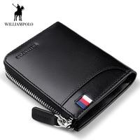 WilliamPOLO Mini Wallets Business Men Wallet male Women genuine leather clutch bag Card Holder Purse High Quality zipper Wallets
