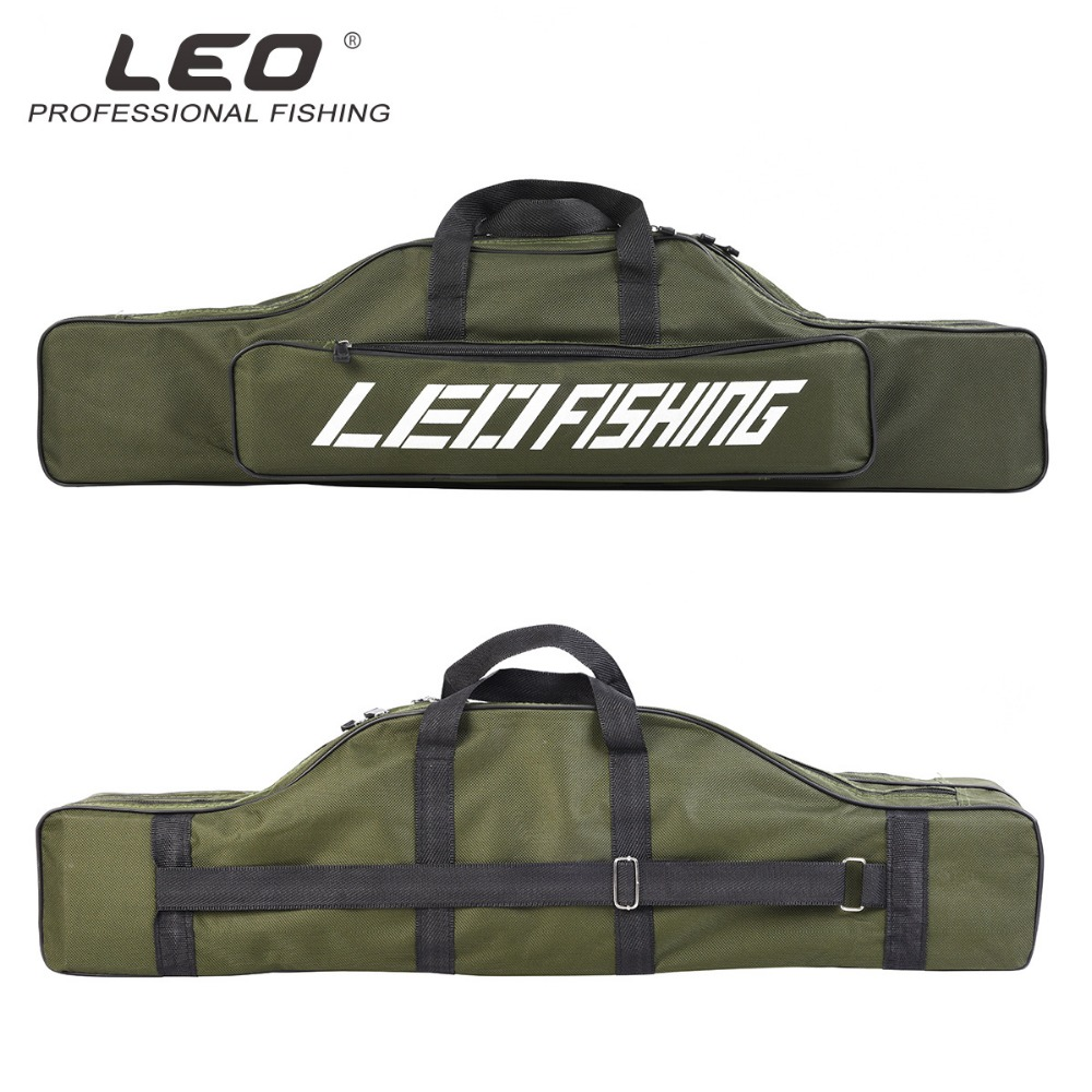 LEO 600D Oxford Cloth Double-Layer Large-Capacity 80cm Fishing Bags Sea Fishing Package Fishing Rod Bag Foldable camouflage outdoor fishing chairs bag foldable 600d oxford peva waterproof layer cool fishing bag multifunctional sport backpack
